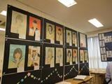 中3学年展示・自画像